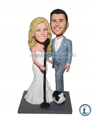 Custom Wedding Bobbleheads Couple With Microphone And Soccer Ball