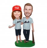 Custom Bobblehead Baseball Doll Couple In Jersey