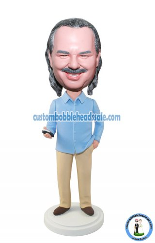 Custom Bobblehead Male In Casual Dress With A Phone At Hands