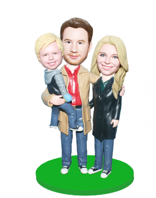 Family Figurines Personalized Three People Bobblehrads