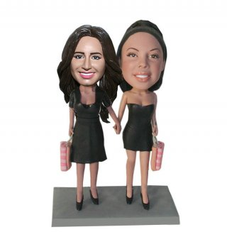 Custom Bobbleheads Sexy Shopping Ladies Hand In Hand Gifts