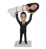 Wedding Cake Topper Groom Lifting Wedding Dress Bride