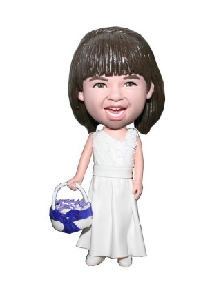 Custom bobblehead doll Wedding little girl With A Basket Of flow