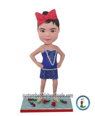 Stand Akimbo Girl In Purple Tutu Custom 3D Bobblehead Doll