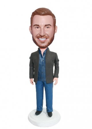 Customized Casual Bobblehead Male In Brown Jacket And Blue Jeans