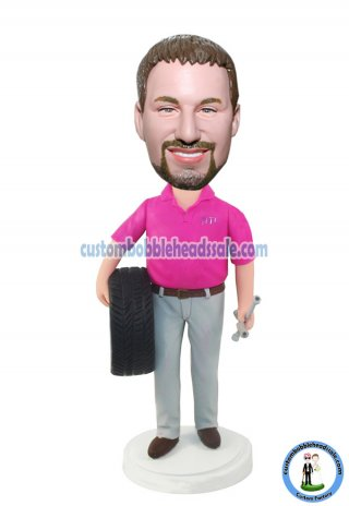 Custom Bobbleheads Mechanic Tire In The Hand Figurines