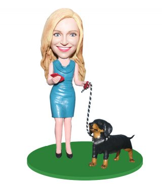 Custom Woman And Pets Bobbleheads From Photo