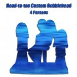 Custom Head To Toe Design Four bobbleheads On One Base-