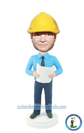 Work Bobbleheads Engineer In Shirt And Jeans With A Blueprint-De