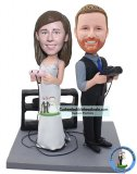 Custom Wedding Cake Figurines Bobbleheads Playing Games