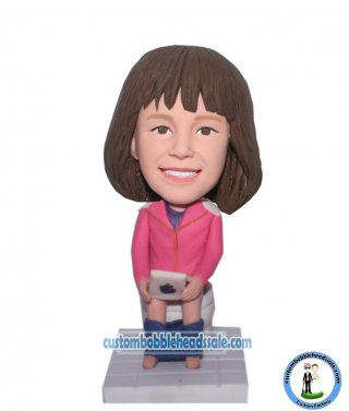 Baby Girl On Toilet With Ipad At Hands Bobble Head Doll Custom