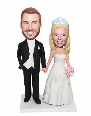 Customized Bobblehead Doll Tuxedo Groom Holding Hand Of Bride-We