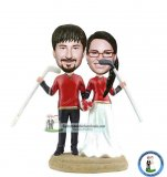Custom Sports Wedding Bobble Head Cake Topper Hockey Player