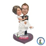 Custom Groom Holds The Bride Wedding Bobble Heads Cake Topper