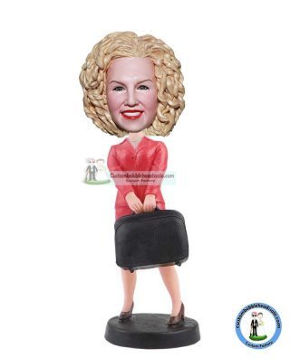Personalized Carrying A Suitcase Bobbleheads From Photo