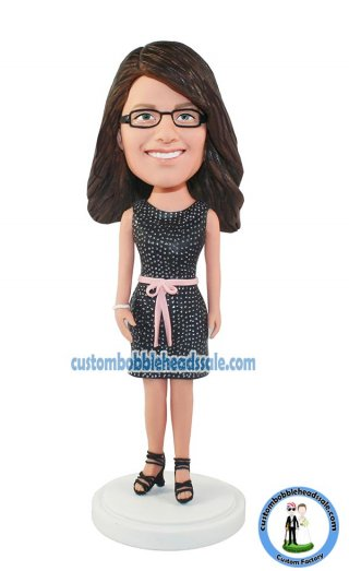 Fashion Woman Bobbleheads In Black Dress Gifts For Her