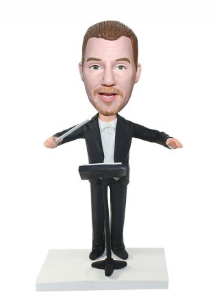 Musician Bobbleheads Conductor In Black Suit With A Stick-custom