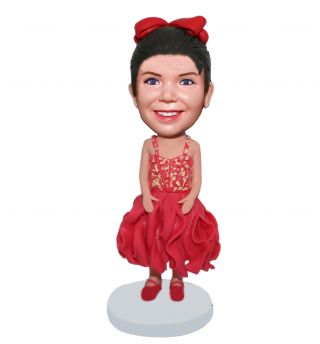 Custom Bobble Doll In Skirt And Red Dance Shoes