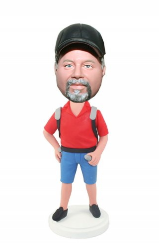 Travel Bobbleheads In Red Polo Shirt And Short With A Backpack