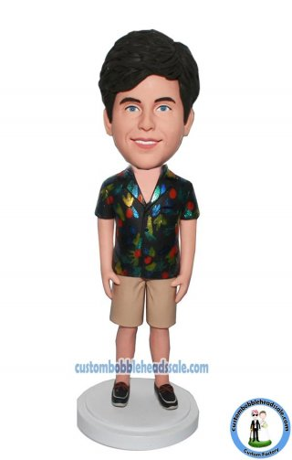 Personalized Bobble Head Male In Tan Shorts With Hawaiian Shirt