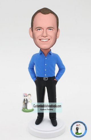 Custom Bobbleheads Man In Blue Shirt Doll