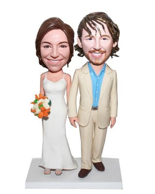 Customized Bobblehead Happy Couple Hand In Hand With Bouquet-Pho