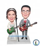 Custom Couple Playing Guitar Wedding Bobbleheads