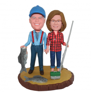 Custom Couple Bobbleheads Fishing