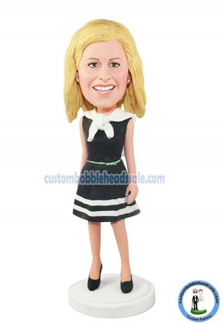 Custom Bobblehead Fashion Female In White Stripes Black Dress