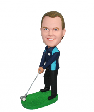 Custom Sports Bobble Head Golfer Ready To Swing The Golf Club