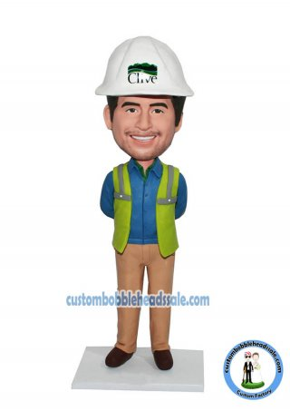 Custom Bobblehead Construction Worker Engineer Doll