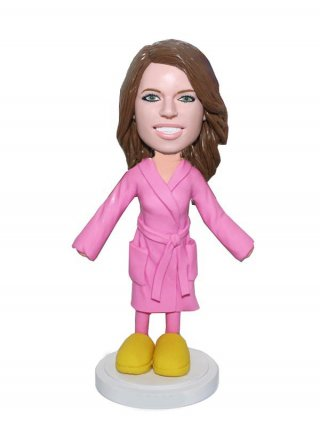 Personalized Bobble head doll Female In Pajamas And Wool Slippers