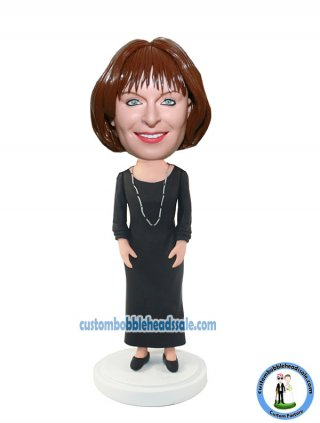 Custom Bobblehead Female In Black Dress With Silver Necklace