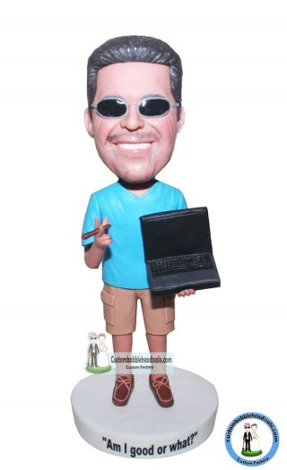 Customized Bobbleheads Shark Tank Male In Casual Dress With A Notebook And A Cigarette
