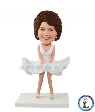 Custom Monroe Modeling Bobbleheads In White Dress