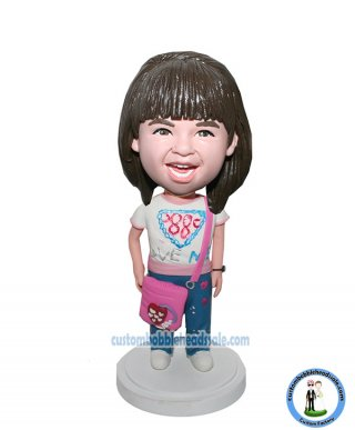 Customized Little Girl Bobblehead With Pink Purse Go to School