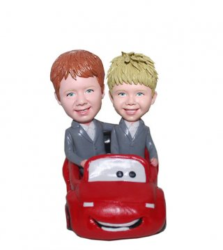 Custom Bobblehead Doll Brothers Driving A Red Car