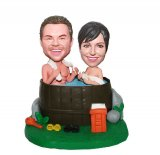 Custom Couple Bobblehead Man And Woman Bathing In A Tub-Wedding