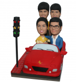 Personalized Family Of Four Bobbleheads Couple And Children Driving