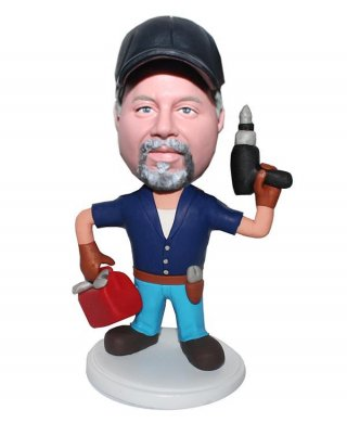 Custom Bobbleheads Mechanic Doll Toolbox In The Hand