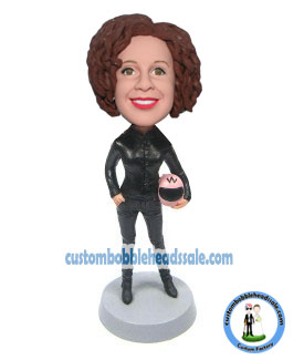 Custom Bobblehead Woman Driver In Race Suit Holding A Helmet-Rid