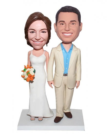 Wedding bobbleheads Customized Bobblehead Happy Couple Hand In Hand With Bouquet - Click Image to Close