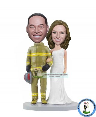 Custom Firefighter Wedding Bobblehead