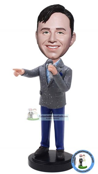 Custom Bobble Head Businessman With Microphone Doll