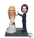Custom Couples High-five Wedding Bobble Heads Cake Toppers