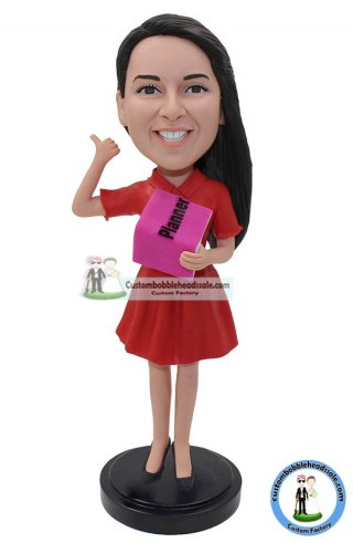Custom Bobble Head Girl Holding A Book Doll