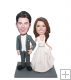 Personalized Wedding Bobbleheads Arm In Arm Groom And Bride- Wed