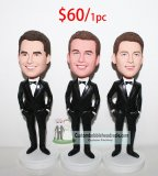 Bobbleheads For Groomsmen With Bow Tie