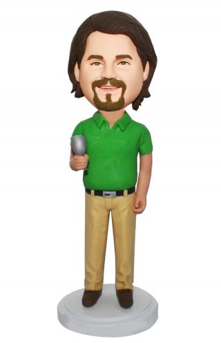 Personalized Bobblehead Casual Dress Male With A Glass Of Martin