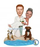 Custom Wedding Bobbleheads Groom Holding Bride On Sand With Dogs